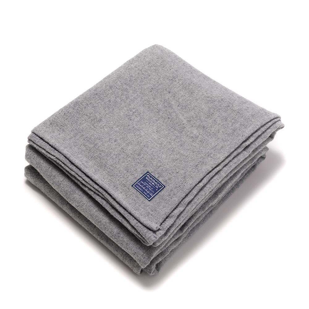 GREY ALPINE WOOL BLANKET QUEEN
