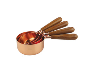 COPPER & WOOD MEASURING CUPS