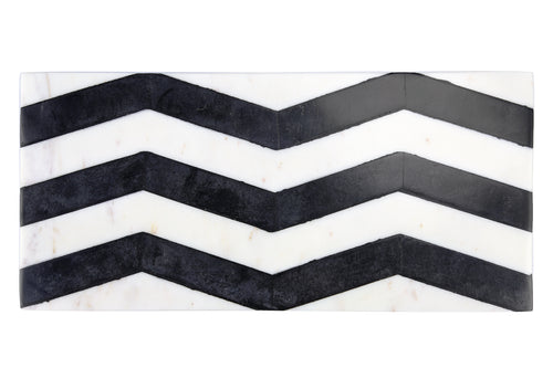 CHEVRON BLACK AND WHITE MARBLE BOARD