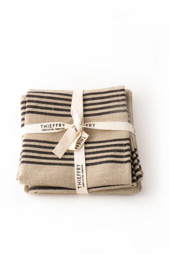 THIEFFRY LINEN DISHTOWEL PAIR - NATURAL WITH BLACK STRIPES