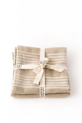 LINEN DISHTOWEL PAIR - NATURAL WITH WHITE STRIPES