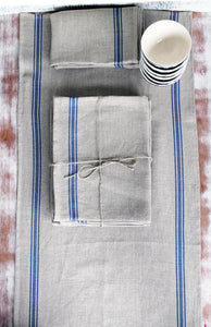 THIEFFRY LINEN DISHTOWEL PAIR - NATURAL WITH BLUE STRIPES