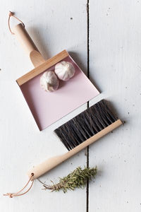 LIGHT PINK HAND BRUSH DUSTPAN AND WALL HOOKS