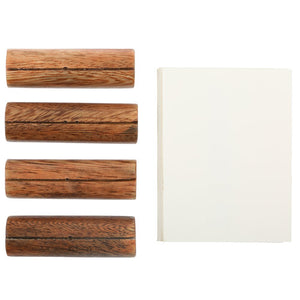 WOOD CARD HOLDERS, SET OF 4