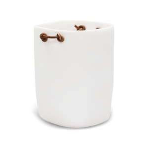 WASTE BASKET WITH LEATHER HANDLES IN WHITE