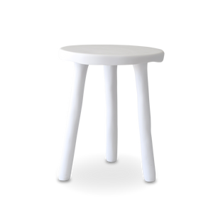 MILKING STOOL SIDE TABLE IN WHITE