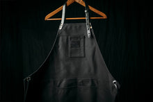 Load image into Gallery viewer, BLACK CANVAS WITH BLACK LEATHER PREMIUM APRON
