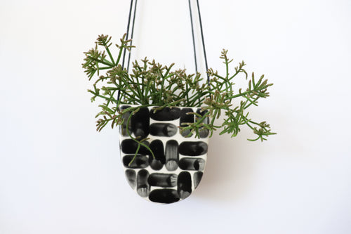 HALF MOON HANGING PLANTER IN BRICK, SMALL