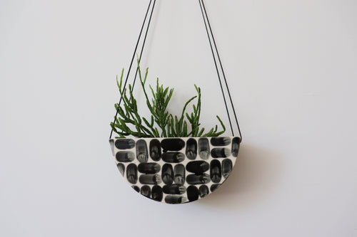 HALF MOON HANGING PLANTER IN BRICK, MEDIUM