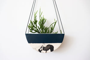 HALF MOON HANGING PLANTER IN DEEP OCEAN, MEDIUM
