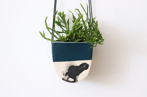 HALF MOON HANGING PLANTER IN DEEP OCEAN, SMALL