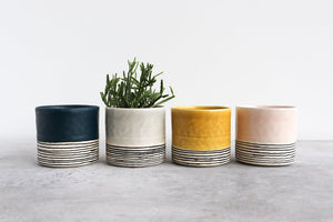 ROUND STRIPED PLANTER SUMMER SWEET