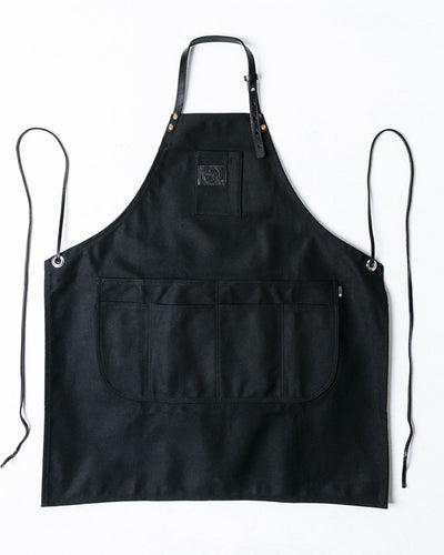 BLACK CANVAS WITH BLACK LEATHER PREMIUM APRON
