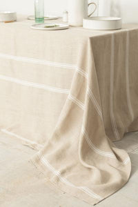 THIEFFRY LINEN TABLECLOTH - OATMEAL WITH WHITE STRIPES
