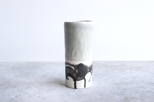 PINCHED SPLATTER VASE IN SEA FOAM