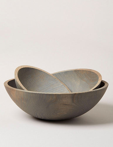 GREY CRAFTED WOODEN BOWLS