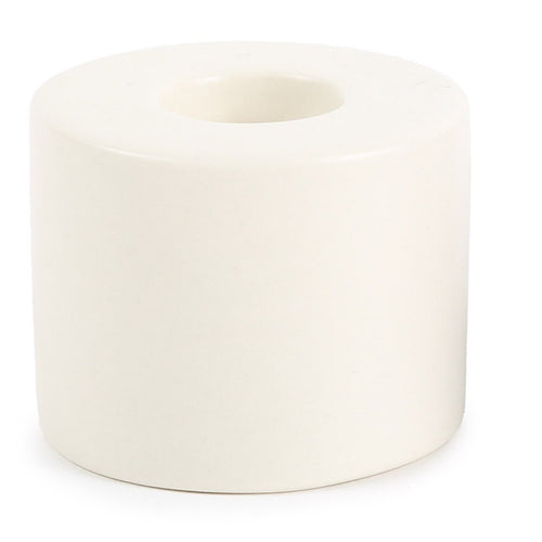 PETITE CERAMIC TAPER HOLDER CYLINDER IN WHITE