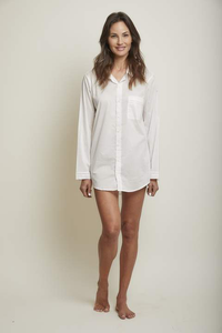 COTTON BOYFRIEND SLEEP SHIRT, WHITE