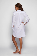 Load image into Gallery viewer, LINEN SHIRT DRESS, WHITE