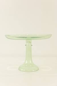 GLASS CAKE STAND, MINT GREEN