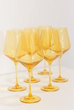 Load image into Gallery viewer, YELLOW WINE GLASSES, SET OF 6