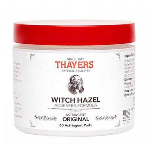 Witch Hazel Pads 60 Pads by Thayers
