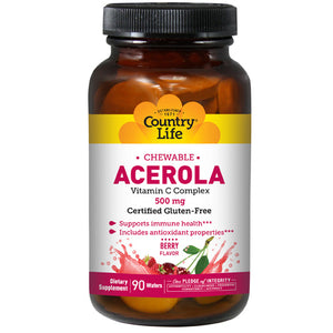 Acerola C with Bioflavonoid & Rutin NF 90 Wafrs by Country Life (2584071405653)
