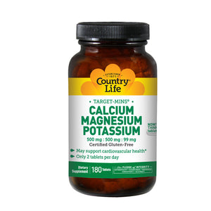 Cal-Mag-Potassium Target-Mins 180 Tabs by Country Life (2584072847445)