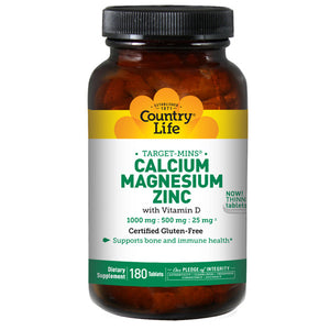 Cal-Mag-Zinc Target-Mins 180 Tabs by Country Life (2584072945749)