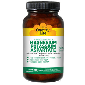 Magnesium - Potassium Aspartate Target-Mins 180 Tablets by Country Life