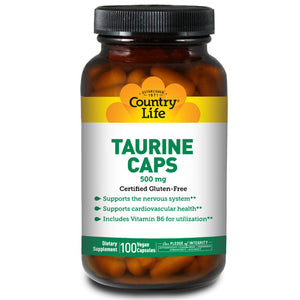 Taurine with B-6 100 Caps by Country Life (2584077926485)
