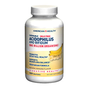 Probiotic Acidophilus with Bifidus Chewable Banana 100 Tabs by American Health
