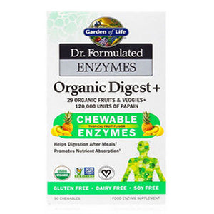 Dr. Formulated Enzynes Organic Digest+ Tropical Fruit 90 Chews by Garden of Life (2588388687957)