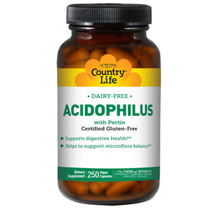 Acidophilus with Pectin Vegetarian 250 Caps by Country Life (2584071471189)