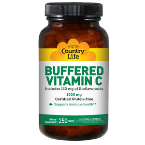 Buffered Vitamin C with Bioflavonoids 250 Tabs by Country Life, (2584072290389)