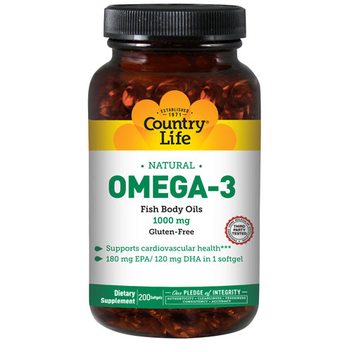 Omega 3 Fish Body Oils 200 Sftgls by Country Life