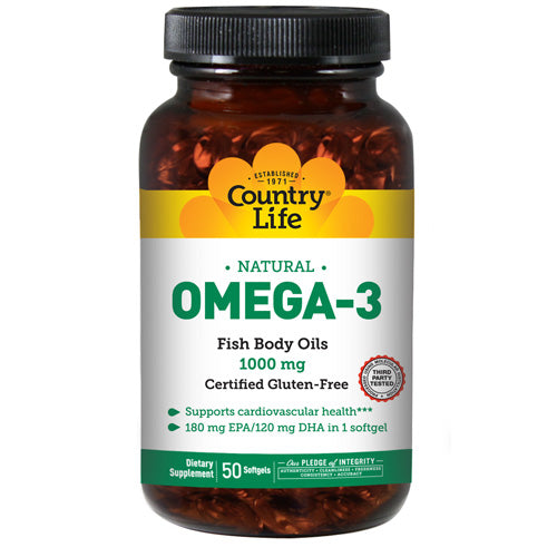 Omega 3 Fish Body Oils 50 Sftgls by Country Life