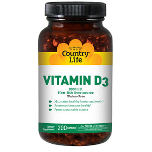 Vitamin D3 200 Softgels by Country Life (2587249770581)