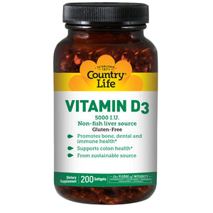 Vitamin D3 200 Softgels by Country Life (2589110730837)