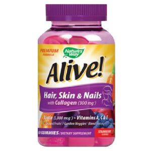 Alive Premium Hair -Skin & Nails Gummies 60 Count by Nature's Way (2590026203221)