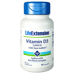 Vitamin D3 with Sea-Iodine 60 Caps by Life Extension (2590140366933)
