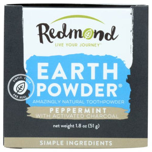 Earthpowder All Natural Tooth and Gum Powder Peppermint Chrcoal 1.8 Oz by Redmond Life (2590326292565)