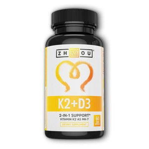 K2 + D3 60 Veg Caps by Zhou Nutrition (4754022105173)
