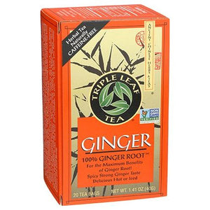 Ginger Caffeine Tea 100% Ginger Root 20 Bags by Triple Leaf Tea (4754055004245)