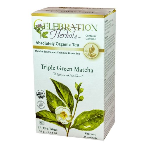 Organic Triple Green Matcha Tea 24 Bags by Celebration Herbals
