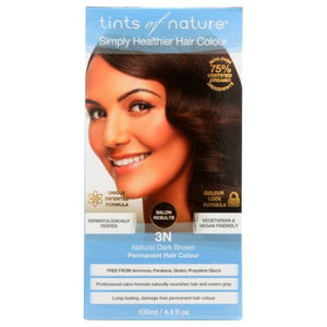 Permanent Hair Color 3N Natural Dark Brown 4.4 Oz by Tints of Nature