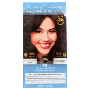 Permanent Hair Color 4N Natural Medium Brown 4.4 Oz by Tints of Nature (4754114904149)