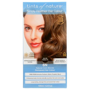Permanent Hair Color 6N Natural Dark Blonde 4.4 Oz by Tints of Nature