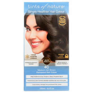 Permanent Hair Color 4C Medium Ash Brown 4.4 Oz by Tints of Nature (4754115199061)