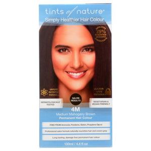 Permanent Hair Color 4M Medium Mahogany Brown 4.4 Oz by Tints of Nature (4754115264597)